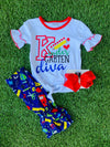 Bowtism Kindergarten Diva Ruffle Capri Set with Matching Bow