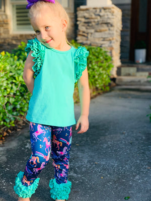 Bowtism Unicorn Ruffle Aqua Pants Set With Matching Bow