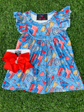Bowtism Summer Fireworks Flutter Dress with Matching Bow