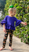 Bowtism Sunflower Ruffle Pants Set with Matching Bow