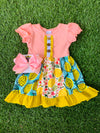 Bowtism Lemon Love Ruffle Dress with Matching Bow