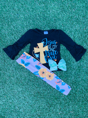 Bowtism Jesus True Love Pants Set with Matching Bow