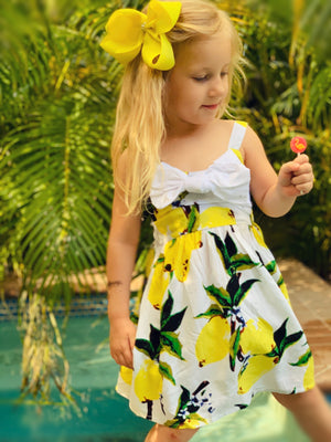 Bowtism When Life Gives You Lemons Dress with Matching Bow