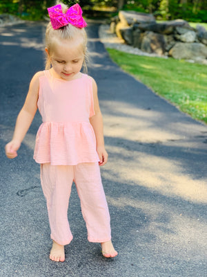 Bowtism Pink Linen Romper with Matching Bow