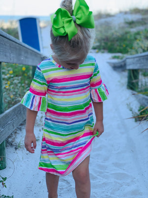Bowtism Rainbow Stretch Dress with Matching Bow