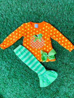 Bowtism Where's The Pumpkin Pie Pants Set with Matching Bow