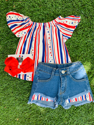 Bowtism July 4th Denim Shorts Set with Matching Bow