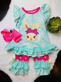 Bowtism Easter Bunny Shorts Set with Matching Bow