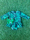 Bowtism Exclusive  Palm Beach Tutu Long Sleeve Romper with Matching Bow