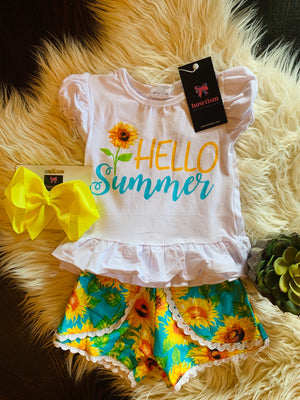 Bowtism Hello Summer Shorts Set With Matching Bow