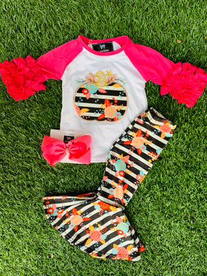 Bowtism Pumpkin Spice Flare Pants Set with Matching Bow