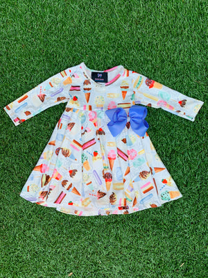 Bowtism Exclusive Ice Cream Social Twirl Dress with Matching Bow