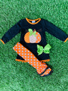 Bowtism Pumpkin Spice and Everything Nice Pants Set with Matching Bow