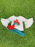 Bowtism Holiday Tree Flare Pants Set with Matching Bow
