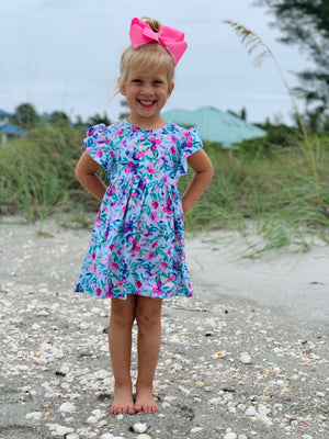 Bowtism Flower Field Dress with Matching Bow