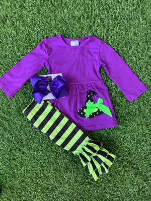 Bowtism Witches Brew Pants Set with Matching Bow
