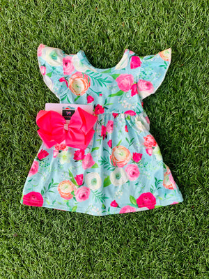 Bowtism Exclusive Floral Dream Flutter Dress with Matching Bow