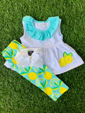 Bowtism Modern Lemon Long Capri Set with Matching Bow