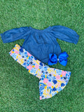 Bowtism Bonjour Spring Flare Pants Set with Matching Bow