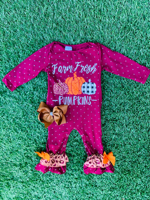 Bowtism Farm Fresh Pumpkin Romper with Matching Bow