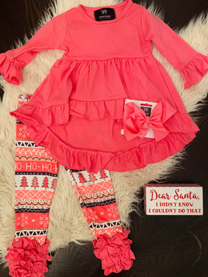 Bowtism Pink Ho Ho Ho Pants Set with Matching Bow