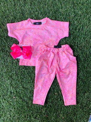 Bowtism Exclusive Pink Herringbone Crop and Pocketed Pants with Matching Bow