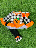 Bowtism Halloween Plaid Pants Set with Matching Bow
