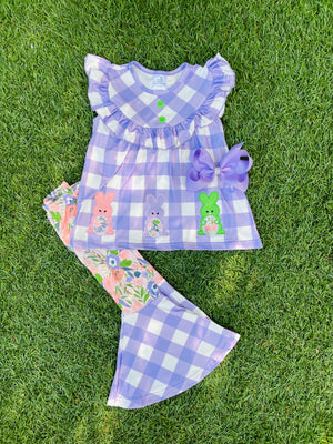 Bowtism Sweet Little Bunny Flair Pants Set with Matching Bow