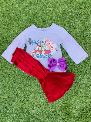 Bowtism Happy Camper Velvet Pants Set with Matching Bow