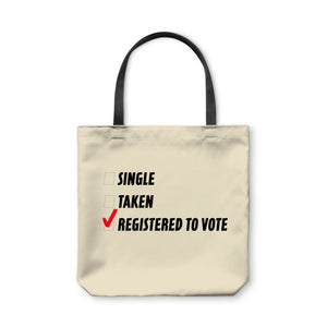 BuzzFeed Single, Taken, Registered To Vote Tote Bag