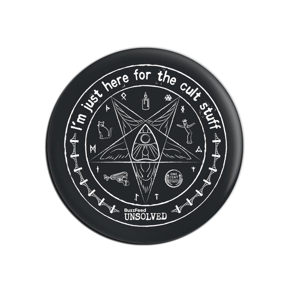BuzzFeed Unsolved Cult Stuff Button Pin