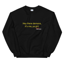 Load image into Gallery viewer, BuzzFeed Unsolved Hey There Demons Girl 2.0 Sweatshirt