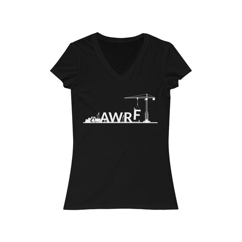 Lifting with AWRF Dark Women's Jersey Short Sleeve V-Neck Tee