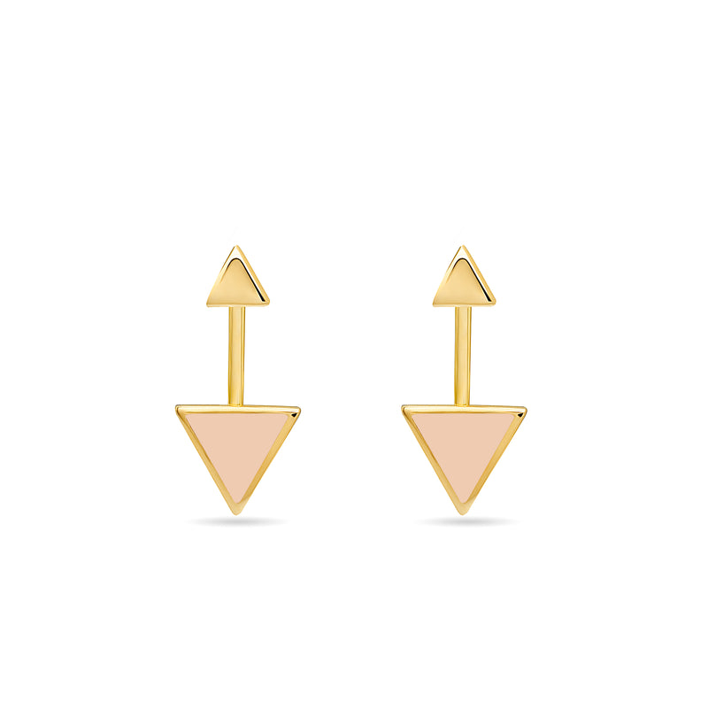 Two piece 14 karat gold earrings inspired by the symbol of the arrow. These earrings are really fine, original and elegant.
