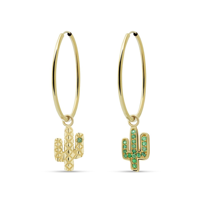 Our two piece 14 karat gold hoop earrings feature the Cactus Charms with handset emerald stones.