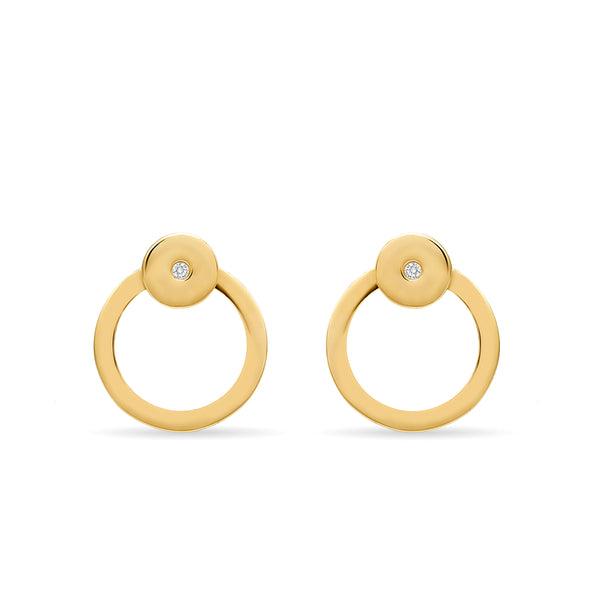 A two piece 14 karat gold diamond hoop earring with clear lines. These earrings are really fine, original and elegant.
