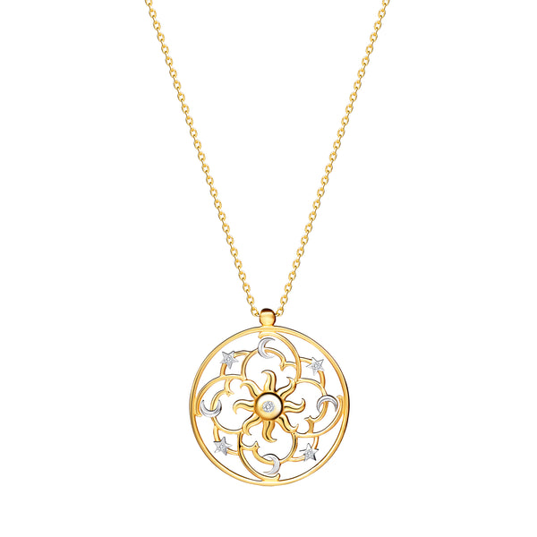 Yellow Gold, White Gold and Diamonds. The 14 karat gold pendant necklace is a representation of the galaxy with the bright sun in the centre. Diamond necklace.