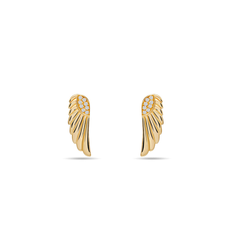 These magical and enchanting diamond earring studs are made of 14 karat gold with a handset diamond pavé. Inspired by the wings of a goddess, its glowing gold and diamonds will brighten your day.