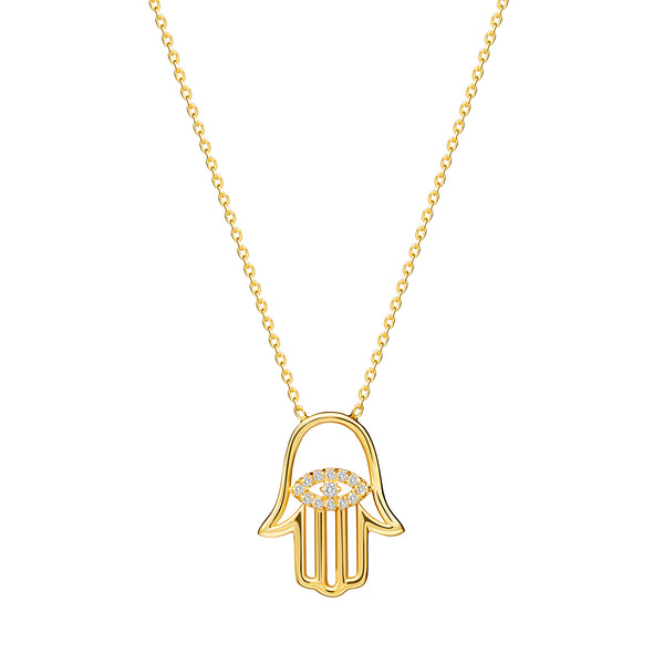 Make a powerful statement with the Diamond Hamsa Pendant. This 14 karat gold pendant is an eye-catcher as it brilliant cut diamonds shine brightly. The center of the pendant features an evil eye with handset diamond pave.
