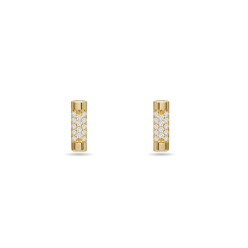 Glamour and simplicity. Our Bar Stud Earrings in 14K gold feature handset diamond pave.