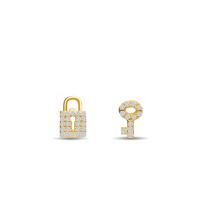 Our 14 karat gold diamond earring studs with a handset diamond pave are the ultimate love symbol. Lock and key diamond earrings.