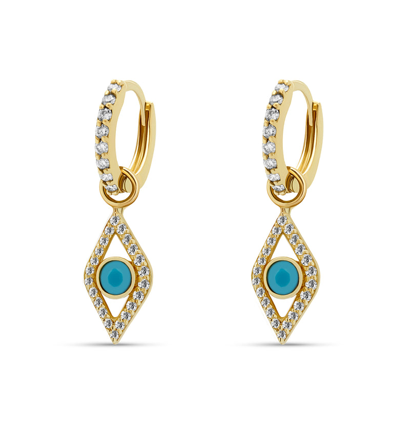 Two pairs of earrings in one! The 14 karat gold Evil Eye Turquoise Huggies feature handset diamonds and a turquoise gemstone.