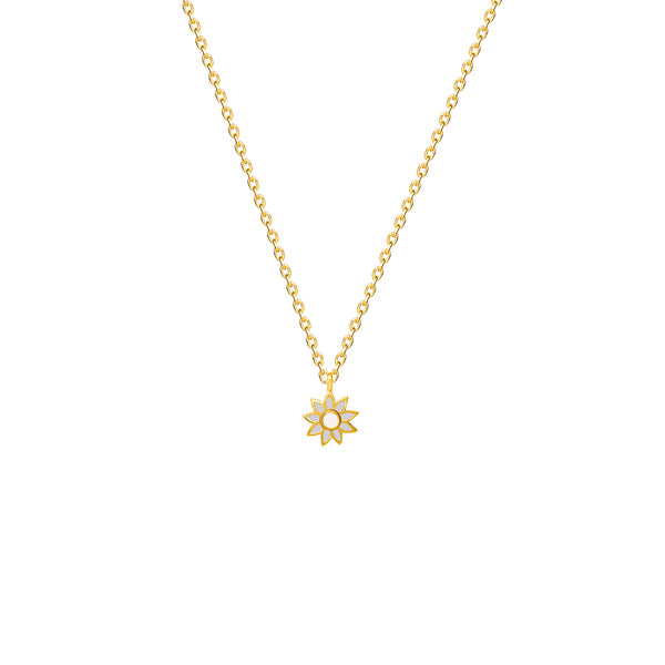 Our 14 karat gold flower necklace for girls features enamel hand painting in blue and white. Team it with the matching flower stud earring.