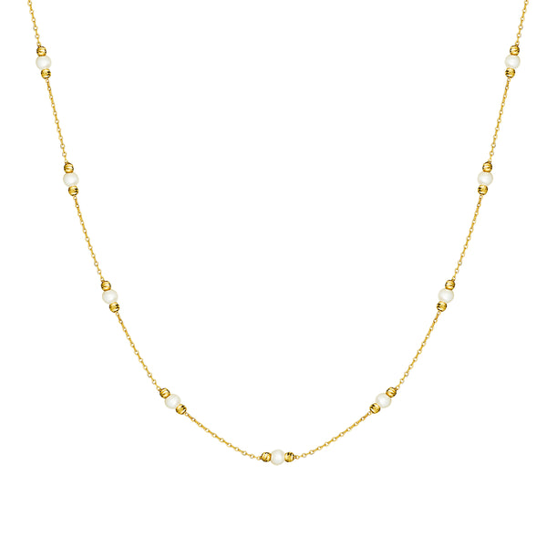 This handmade 14 karat gold pearl necklace is an essential classic for every day. Each pearl is encased by diamond cut golden balls that reflect the light and add an extra sparkle to your neck.