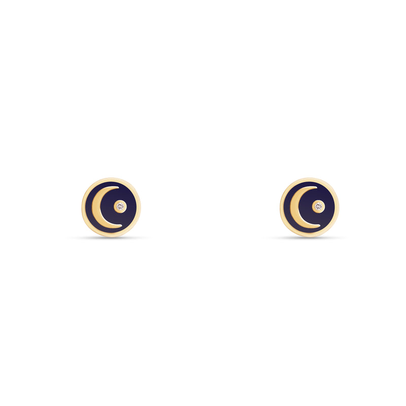 These handmade 14 karat gold diamond earring studs are the perfect every day gold accessory. The stud earrings feature a hand-painted blue enamel with a moon and a shining diamond star.