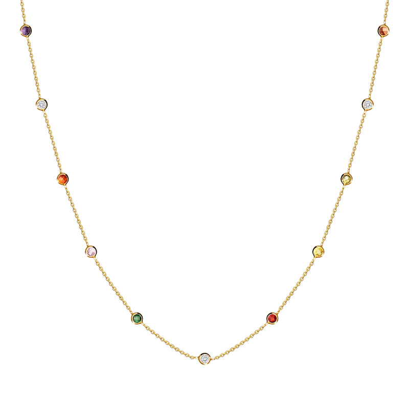 This 14 karat gold necklace features colourful stones bezel set in gold.