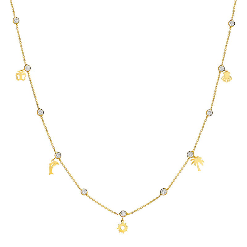 The handmade 14 karat gold necklace that every woman adores. A charm gold necklace featuring bezel-set zirconia stones and your favourite summer charms.