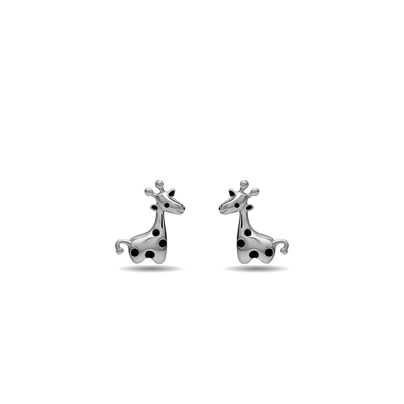 Our playful Giraffe stud earring for girls in 14 karat gold features enamel hand-painting in black. whitegold giraffe earring