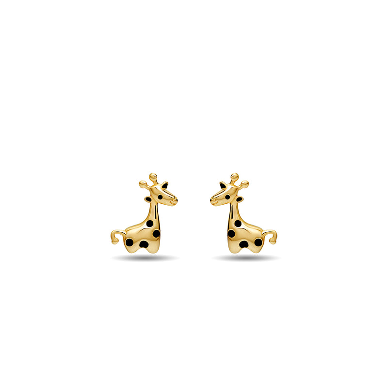 Our playful Giraffe stud earring for girls in 14 karat gold features enamel hand-painting in black.