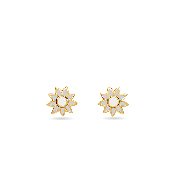 Our flower stud earring in 14 karat gold for girls features enamel hand-painting in blue and white. Combine it with the matching flower necklace to complete the look.Kids flower earring